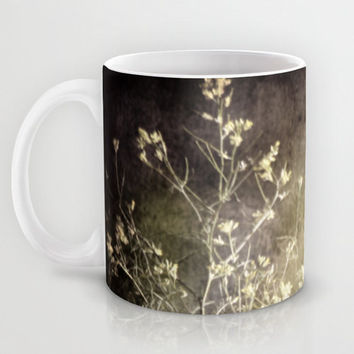 Art Coffee Cup Mug Wild Darkness photography home decor Java Lover grey gray black nature Gothic wild flowers weeds photo green tan texture