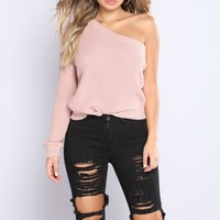 Annabelle One Shoulder Sweater - Dusty Pink