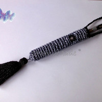 Crochet Ego Ecig Electronic Cigarette Vaporizer Holder Lanyard Tube Belt Case Lava Provari Vaping Necklace Cotton Black Blue