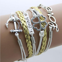 Anchor, Faith, Clover and Love Bracelet