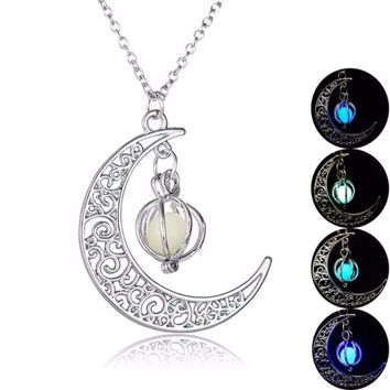 Glow in the Dark  Necklace Moon Hollow with Ball Luminous  Pendant