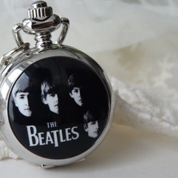 Long Silver Beatles Analog Pocket Watch Pendant Necklace