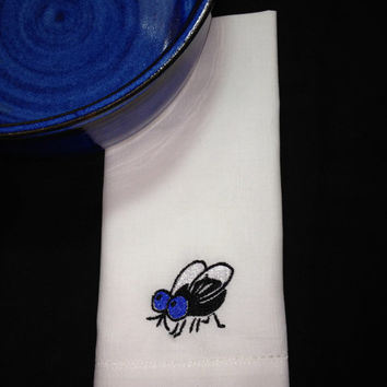 4 Summer Fly Embroidered Cloth Napkins / embroidered napkins / funny napkins / picnic napkins / blue / white / black / summer / hostess gift