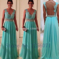 Real Photo Light Blue Long Prom Dress 2016 Vestido De Festa Free Shipping Cheap Prom Gowns Hollow Back