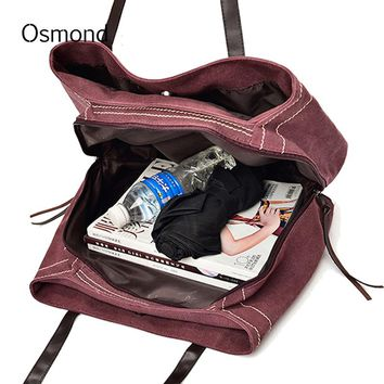 Osmond Vintage Large Canvas Handbag Red Hobos Bag Casual Shoulder Designer Women Solid Tote Ladies Portable Shopping 2017 Travel