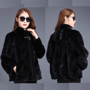 pieces mink fur jacket women natural real genuine fashion warm winter mink fur coat