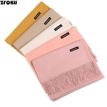 ZFQHJJ 2018 Women Scarf Fashion Soild Autumn Winter Cashmere Scarves Lady Warm Pashmina Long Shawl Wraps Bandana Foulard Female