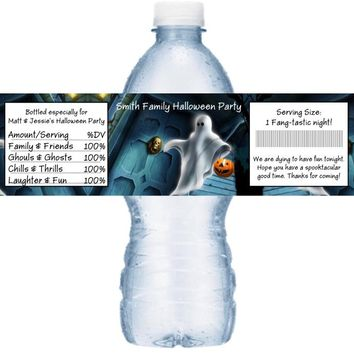 21 Halloween Party Water Labels Personalized