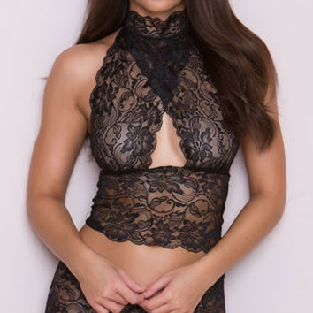 Lacy Longline Bralette and Panty Set, Sheer Lace Bralette Set, Sheer Lace Bra Set