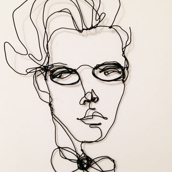 Wire wall art - Wire portrait of a man with glasses - Wall hanging metal sculpture - Nerd