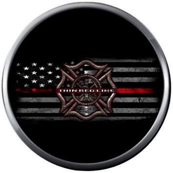 Cool Maltese On USA Flag On Black Fire Rescue Helmet Fireman Firefighter Thin Red Line Courage Under Fire 18MM-20MM Snap Charm Jewelry