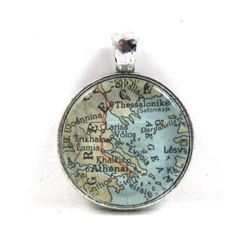 Vintage Map Pendant of Athens, Greece, in Glass Tile Circle