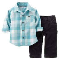 Carter's Checkered Shirt & Corduroy Pants Set - Baby Boy