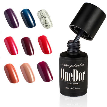 One Step Gel Polish UV Led Cured Required Soak Off Nail Polish No Base or Top Coat Nail Need