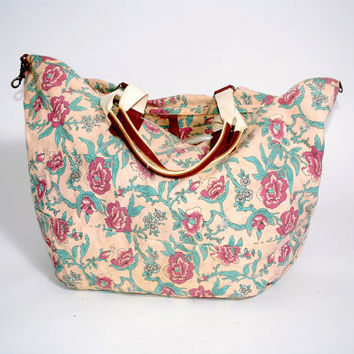 Vintage 1990s GAP Floral Canvas XL Print Oversize Oversized Tote bag overnight bag suitcase purse