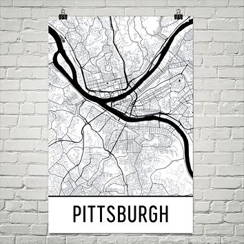 Pittsburgh PA Street Map Poster
