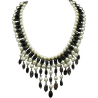 Vintage Black Glass Bead Faux Pearl Bib Necklace