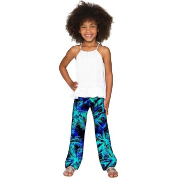 Electric Jungle Amelia Blue Green Printed Palazzo Pant - Girls