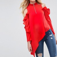 ASOS Asymmetric Top with Cold Shoulder and Ring Pull at asos.com
