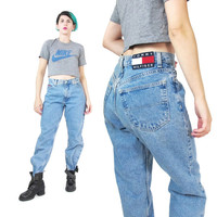 90s Tommy Hilfiger Jeans Womens Boyfriend Jeans Aaliyah Hip Hop Baggy Jeans Medium Wash Denim Blue Jeans Straight Leg Jeans Boot Cut (M)