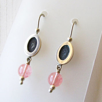 Sterling Silver and Rose Quartz Stones Earrings - Pale Pink Rose Stones - Oval Earrings with Stones - Black Silver Light Pink - Contemporary
