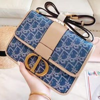 DIOR selling women's casual shoulder bag fashionable denim patchwork color shopping bag