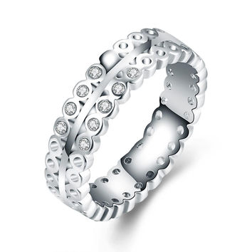 White Gold-Plated Italian-Cut Eternity Ring
