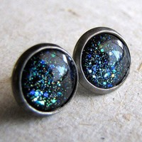 ShanaLogic.com - 100% Handmade  Independent Design! Blue Galaxy Stud Earrings - New Arrivals