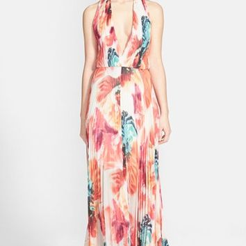 Women's Alice + Olivia 'Clare' Abstract Print Pleated Halter Maxi Dress