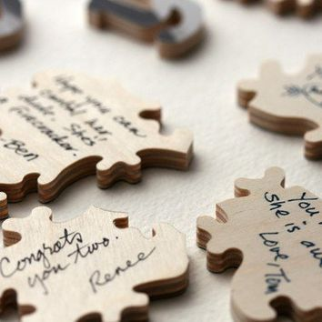 WOOD Wedding Puzzle 20 pieces a guest book by BellaPuzzlesToo