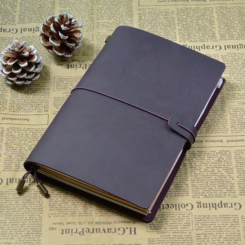 100% Genuine leather Travelers notebook Loose leaf diary journal Vintage sketchbook planne paper Gift School supplies stationary