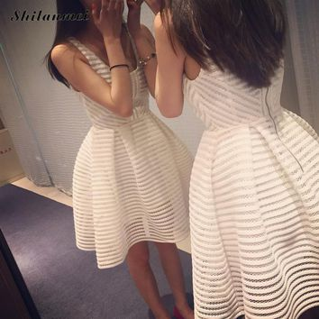 Rockabilly Mesh Dress 2018 Summer Women Sexy Classic Party Dresses Solid Striped Print Elegant A Line Vestidos Mini Skater Dress