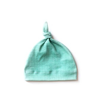 Organic Baby Knotted Hat Teal Linen
