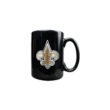 New Orleans Saints 15oz Black Ceramic Mug