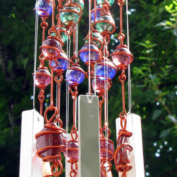 Red Jasper Windchime / Wind Chime with Copper Wrapped Rainbow Glass Marble Prisms
