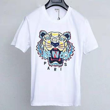 Kenzo Summer Fashion New Bust Embroidery Letter Tiger Women Men Top T-Shirt White