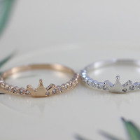 20% off Princess Crown ring, Tiny crown ring, Silver Ring,Rose Gold Plated ring, Crown Jewelry,