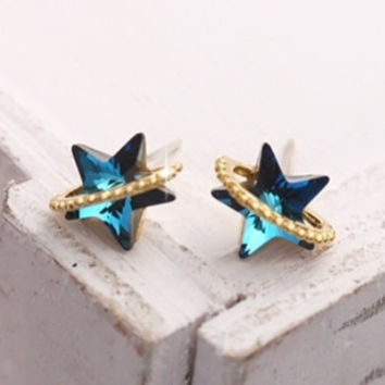 Swarovski Stone Purple and Blue Crystal Star Earring, Cute Jewelry, Korean Girls Accessory