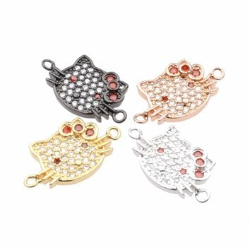 10PCS Hot Fashion Copper Hello Kitty Charms Connector Micro Pave Zircon Connector Spacer Bead Component For DIY Bracelet Making