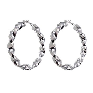 JEROLLIN Jewelry Silver& Gold Color Alloy 60*60mm Twisted Hoop Earrings for Women