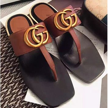 GUCCI summer clip-toe towing new products genuine leather big brand fashion style cool slippers women low heel flip-flops