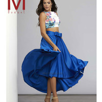 30007 Royal Blue & Floral Cropped High Low Two Piece Dress  2015 Homecoming Dresses
