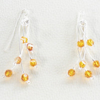 Three Tiered Dangle Earrings with Orange Swarovski Crystal Elements