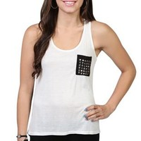 racerback tank top with studded pocket