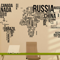 Large World Map Wall Decal- World Map With Countries Wall Decal Travel Stickers Living Room Bedroom Office Letters Wall Art Decor C081