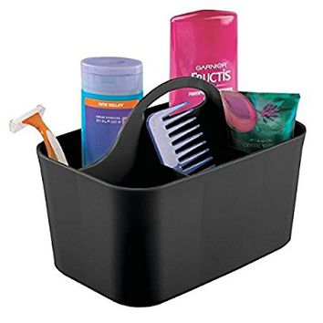 mDesign Bathroom Shower Caddy Tote for Shampoo, Conditioner, Soap - Small, Black