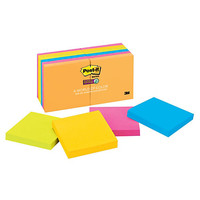"Post-it® 3"" x 3"" Super Sticky Notes, Rio De Janeiro Collection, 90 Sheets Per Pad, Pack Of 12 Pads Item # 544458"