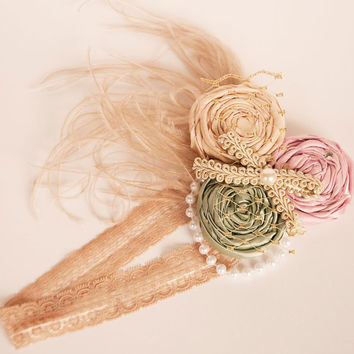 Little Bo Peep boutique headband READY TO SHIP made by Mckenzie Grace Designs