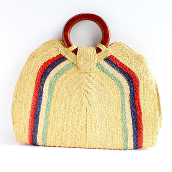 Vintage Large Yellow, Red, Blue, & Green Purse - Mid Century 1960s 1970s  Straw Woven Pocketbook / Raffia Bag
