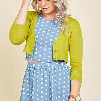 Dream of the Crop Cardigan in Lime | Mod Retro Vintage Sweaters | ModCloth.com